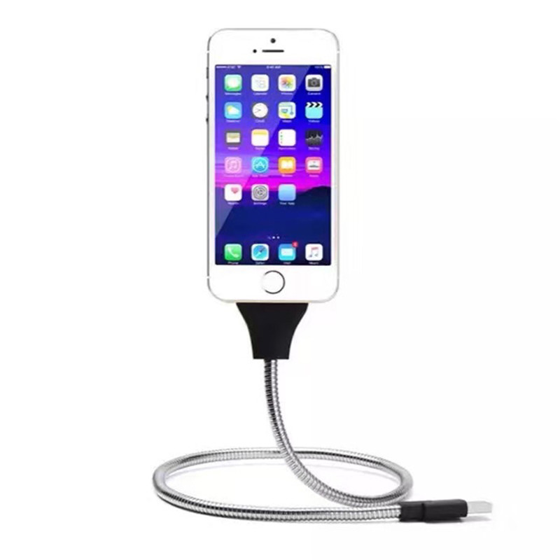 Flexible Car Phone Holder USB Charging Data Cable Phone Charger Bracket Holder For IPhone Android Smartphones Charge Stand Rack