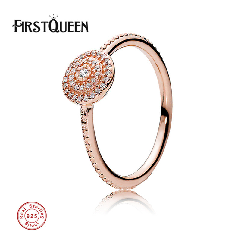 FirstQueen New Arrival Rose Gold Radiant Elegance Ring anillos de plata 925 Rings For Women anillos Fine Jewelry