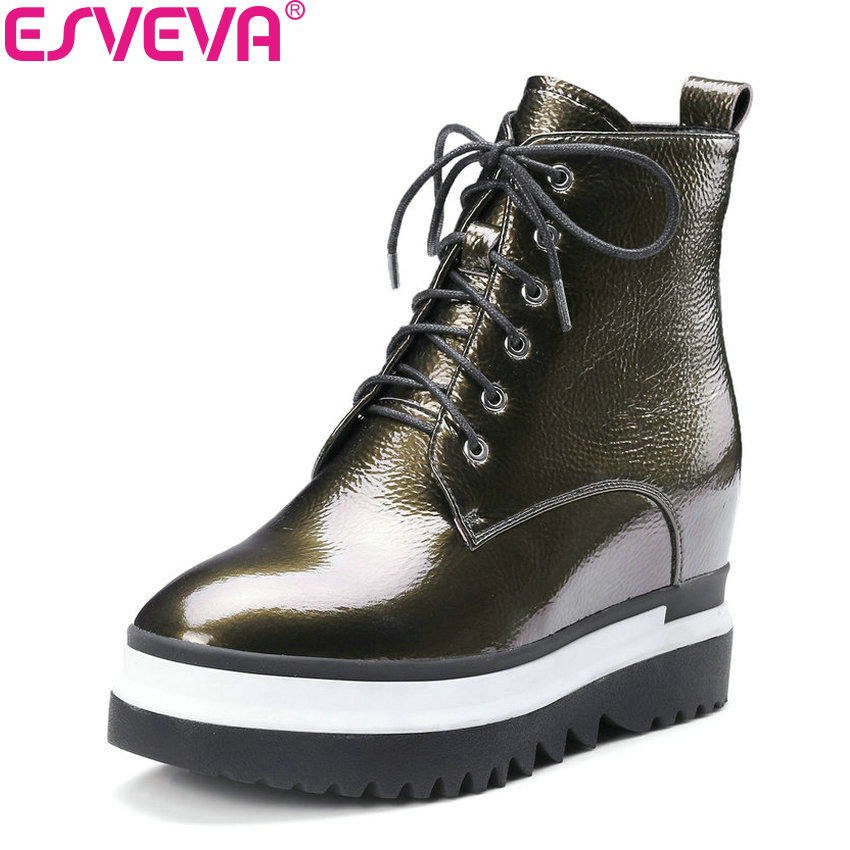 ESVEVA 2018 Women Boots Out Door Black Height Increasing Short Plush/PU High Heel Ankle Boots Round Toe Ladies Boots Size 34-42 esveva 2016 sequined platform women boots autumn fashion boots wedges high heel leisure round toe ladies ankle boot size 34 39