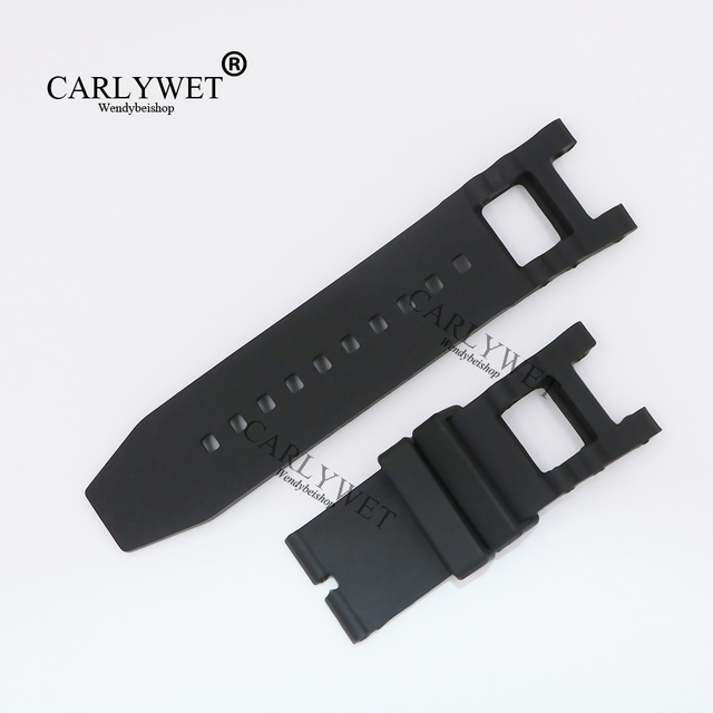 CARLYWET 28mm New Black Strap Waterproof Rubber Replacement Watch Band Strap Bel