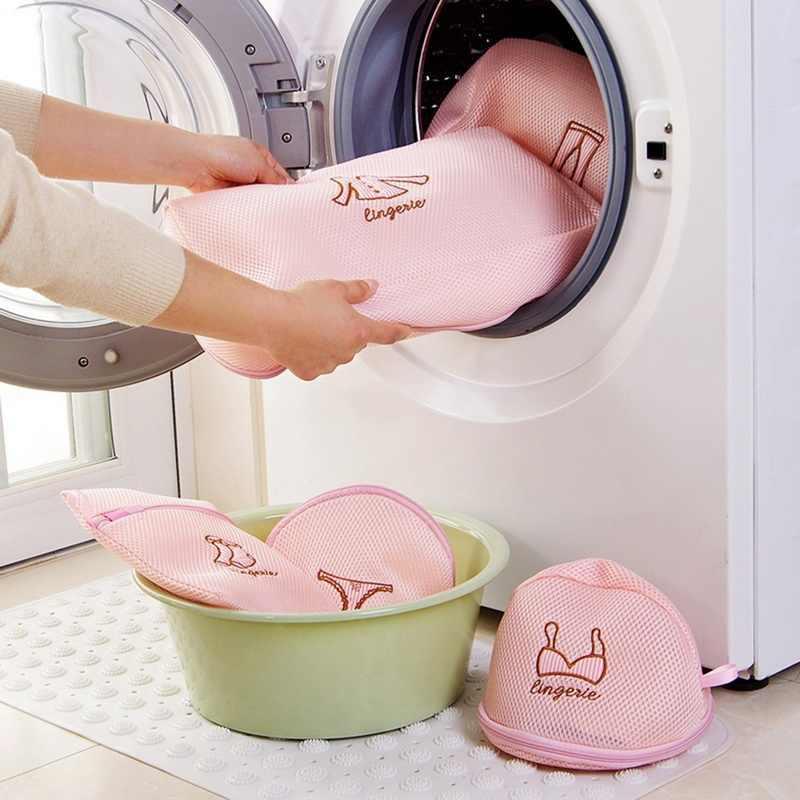 LASPERAL Com Zíper Saco de Roupa Bra Meias Roupa Interior Saco de Roupa Máquina de Lavar Roupa de Malha De Nylon Dobrável Sacos de Lavagem Líquido