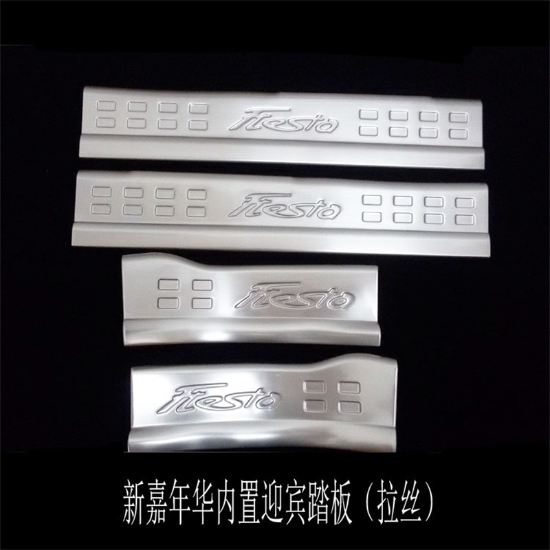 For Ford Fiesta Internal Door Sill Scuff Plate Car Styling Stickers Auto Accessory Stainless Steel 2009-2014 4pcs/set