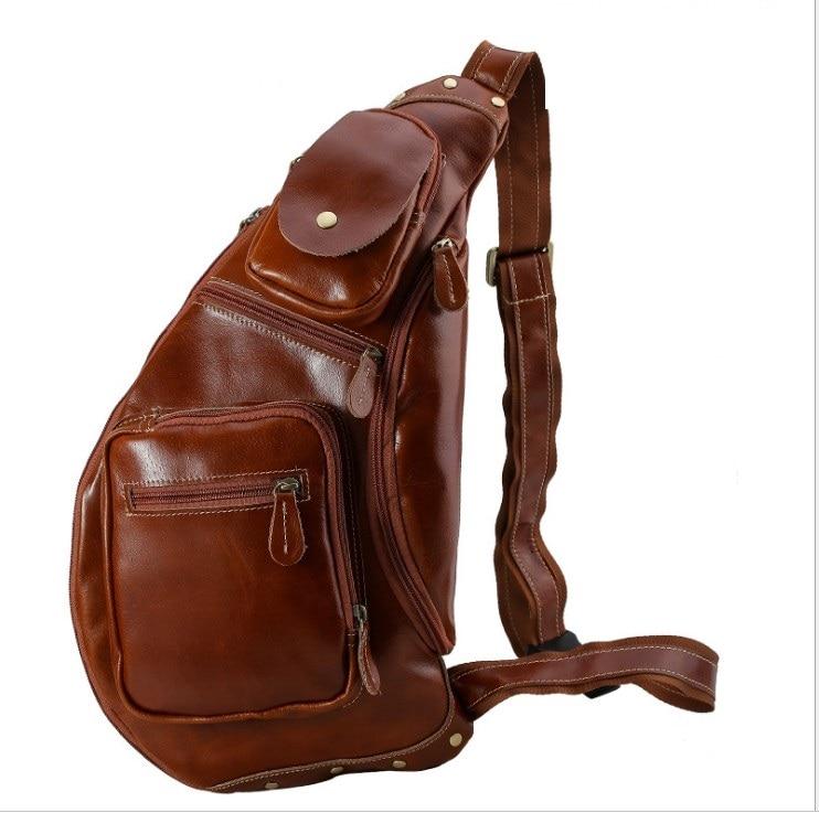 Men Chest Bag High Quality Vintage Casual Oil Wax Leather Genuine Cowhide Big Chest Messenger Bags men Half Moon travel bag