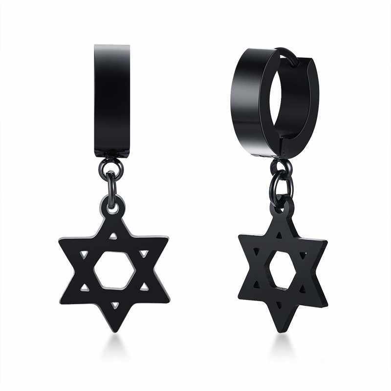 Cross Pria Drop Anting-Anting Stainless Steel Hitam Heksagram Berengsel Ring Huggie Ear Stud Gothic Punk Berharap Anting-Anting