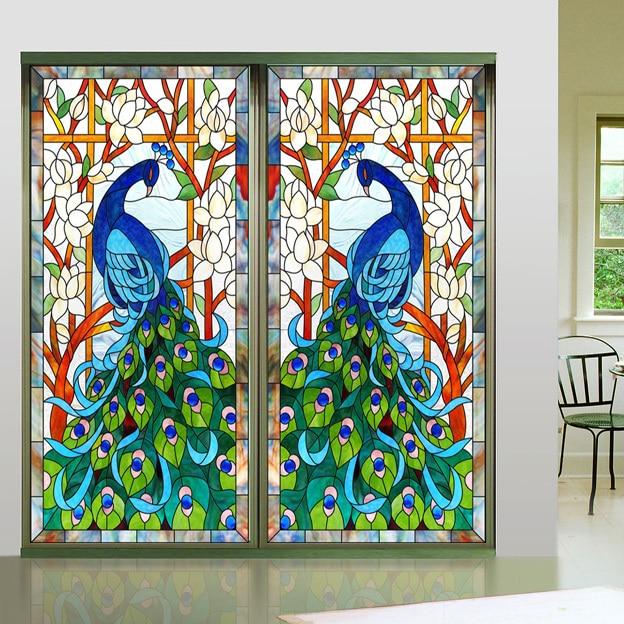 Buy New Design Europen Style Peacock Glass Window Film Home Decorative Window