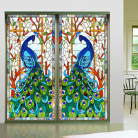 New Design Europen Style Peacock Glass Window Film Home Decorative Window Sticker Stained 50*100cm