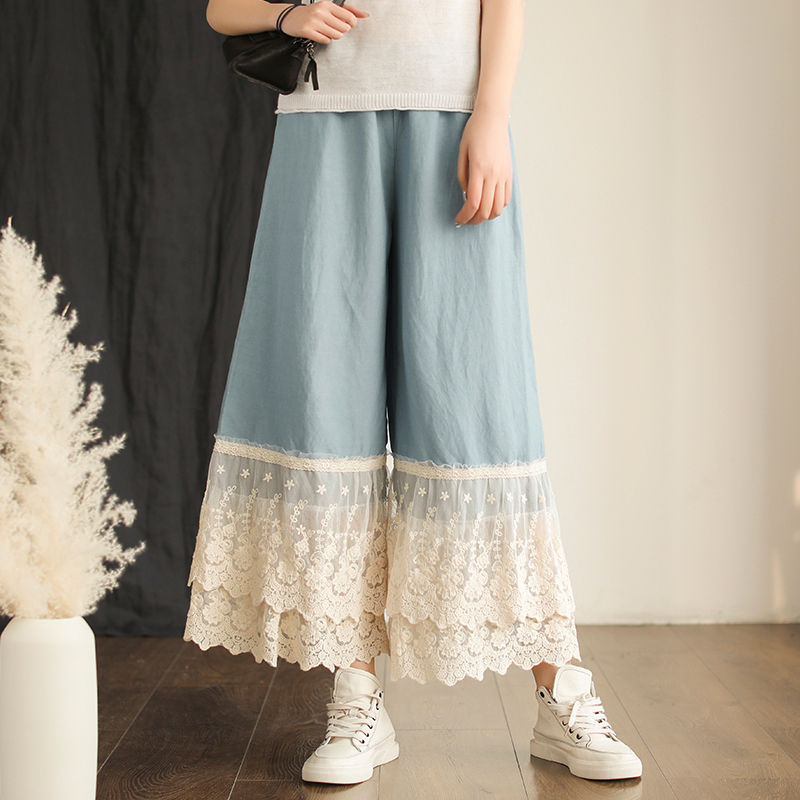 Lolita double layer lace patchwork Retro   wide     leg     pants   Elastic waist female 2019 spring summer