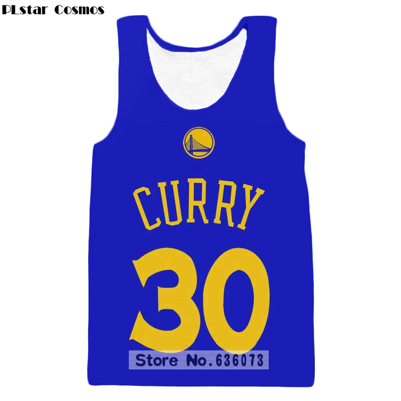 PLstar Cosmos 2018 summer New Fashion   Tank     tops   Stephen Curry character Print 3D Vest Men Women casual vest Free shipping