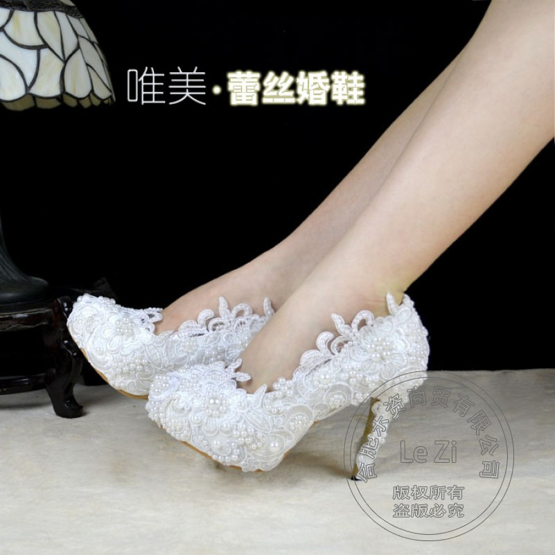 Thin Heel High Quality Wedding Shoes Heels Pearl White Luxury Shallow Mouth Lace Evening Platform Pointed