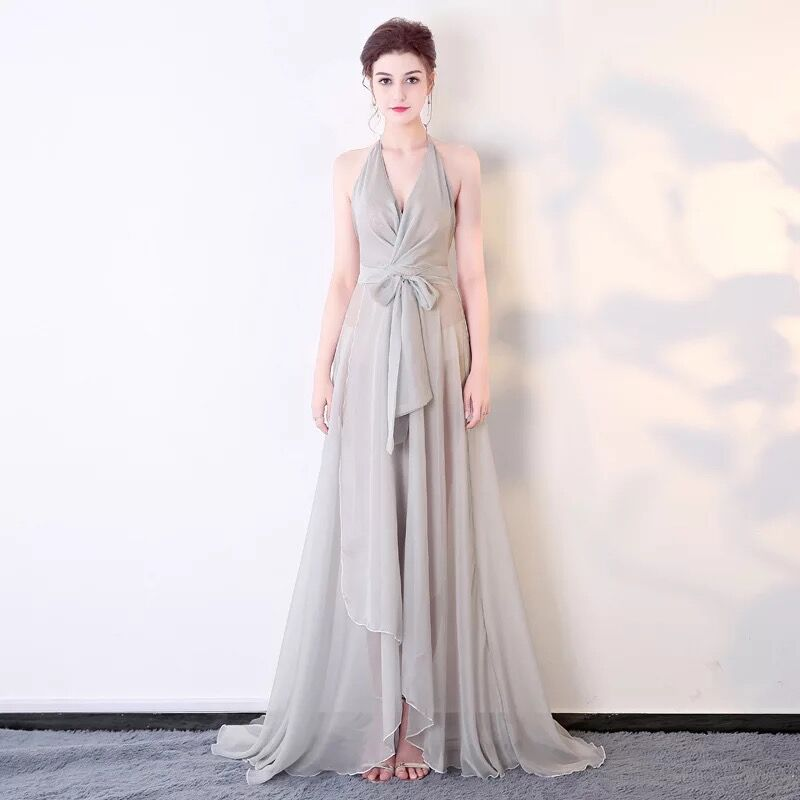 2019 New Chiffon See through Dress Halter Backless Sexy Summer Long Maxi Dress Formal Party Dress Evening Prom Gowns Vestidos