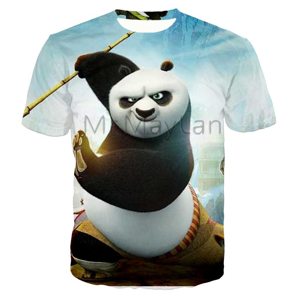 Kung Fu Panda 3D cartoon print T-shirt trend cute men and women shirt loose super large size casual wear
