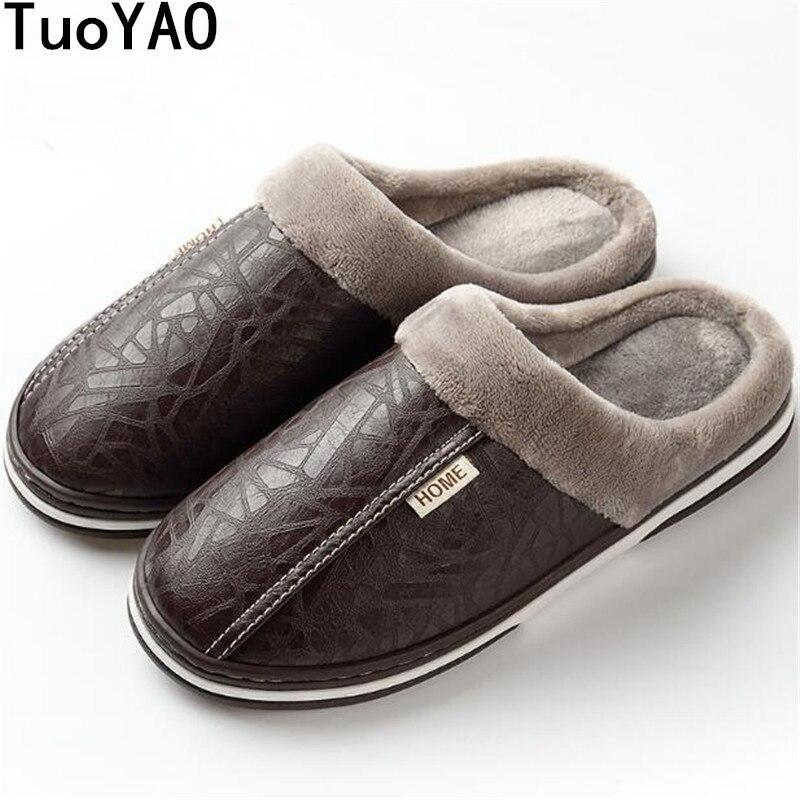 Men's Slippers Winter Slippers Non Slip Indoor Shoes For Men Leather Big Size 49 House Shoe Waterproof Warm Memory Foam Slipper