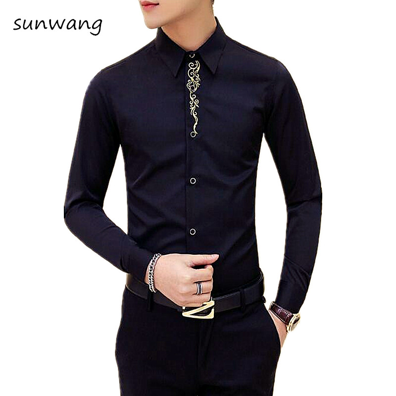 2017 White Men Casual Black Embroidered Flowered Slim Fit Dress Shirt Long  Sleeve Slim Fit Mens Shirts camisa social masculina -in Casual Shirts from  Men's ...