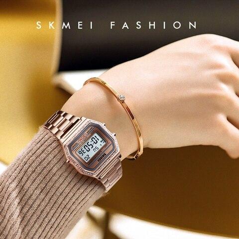 SKMEI Women Watches Drill Diamond Sport Watch Digital Alarm Stainless Steel Luxury Ladies reloj inteligente mujer Women Watches Lahore
