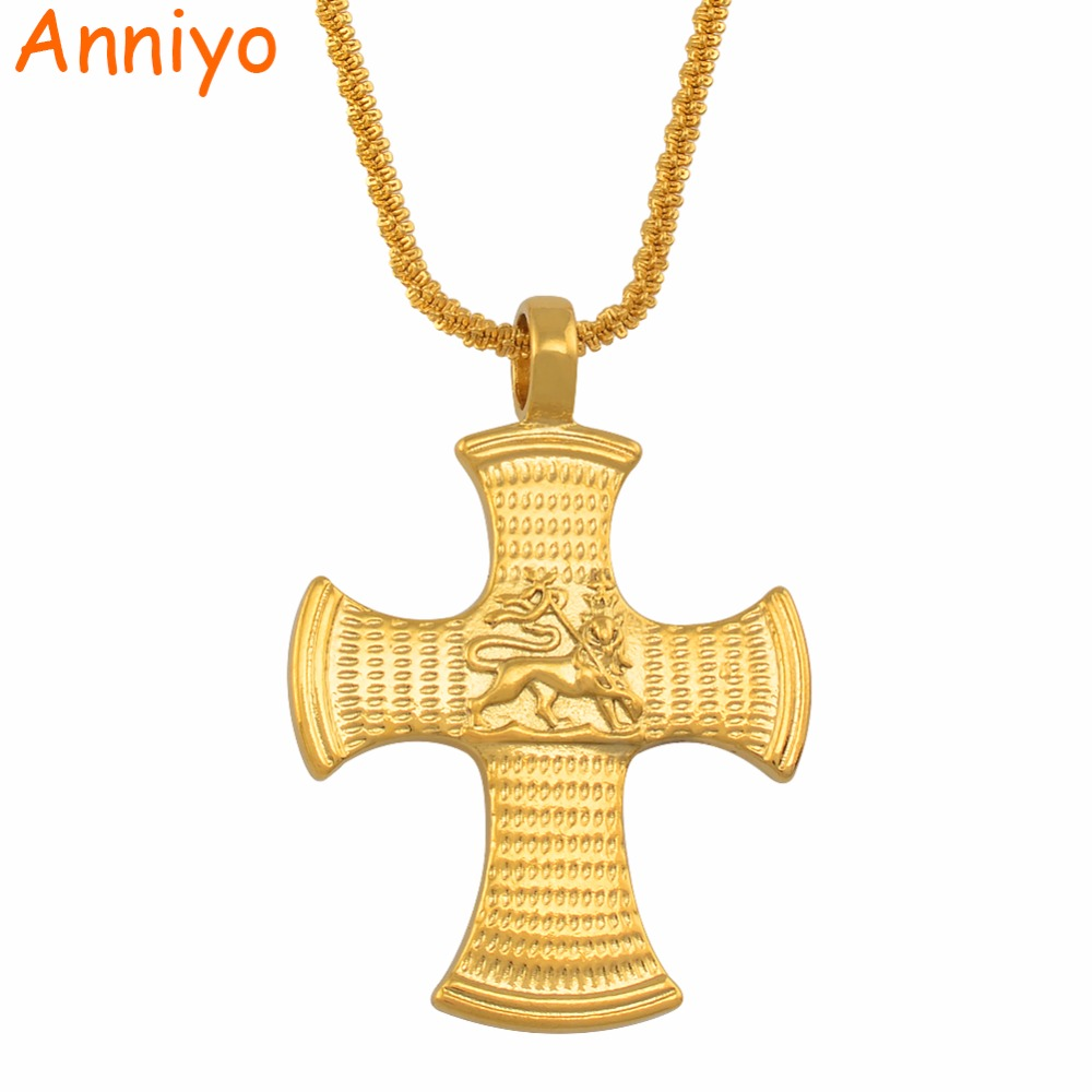6e0e6f1bc6ecf US $3.98 |Annio Ethiopian Gold Cross With Lion of Judah Pendant Necklaces  For Women Men Gold Color African Jewelry Eritrea #012916-in Pendant ...