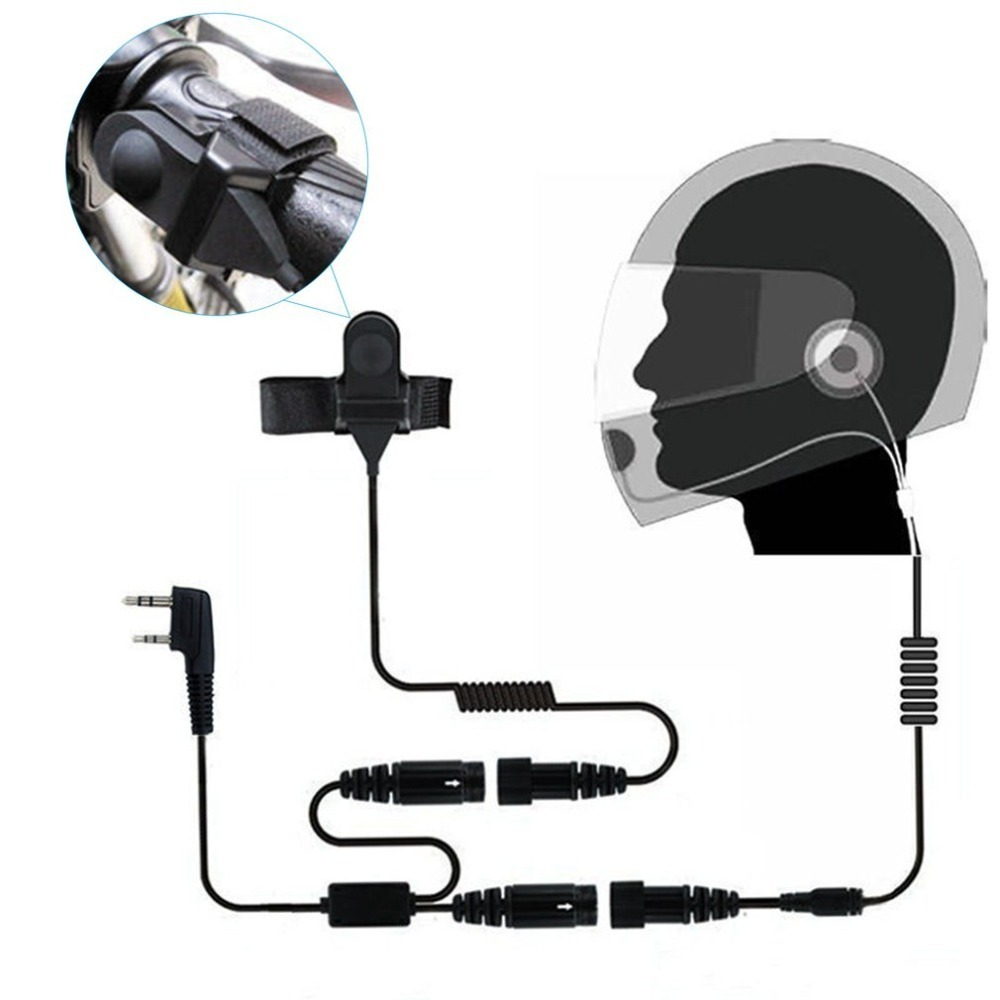 2 PIN Helmet Portable Motorcycle Race Contact Headset Earpiece For Kenwood Baofeng Wallie Talkie Two Way Radio цена