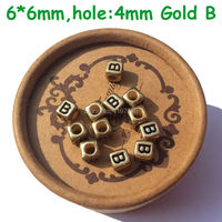 Alphabet Letter B Beads Gold Black Acrylic Square Beads 4mm Big Hole For DIY Name Bracelets Necklace Jewelry Making 6mm 2600pcs
