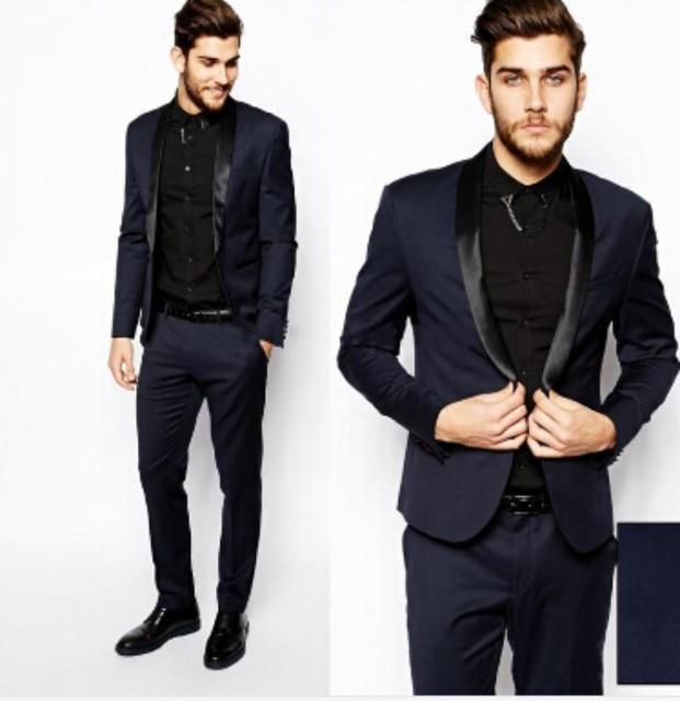 2016 Men Formal Slim Fit Dress Suits Fashion Black Navy Business ...