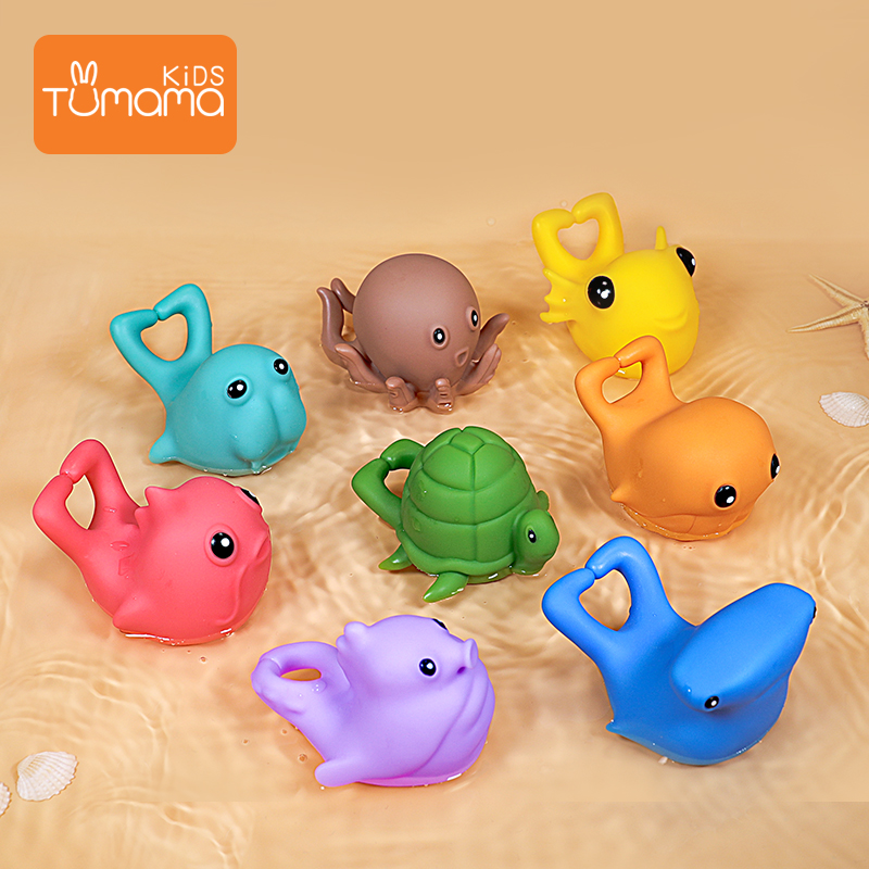 8Pcs Baby Bath Toys Rattle Toys Cute Fishing Floating Toy Sea Animals Bath Set With Organizer Bag Beach Pool Party For Kid