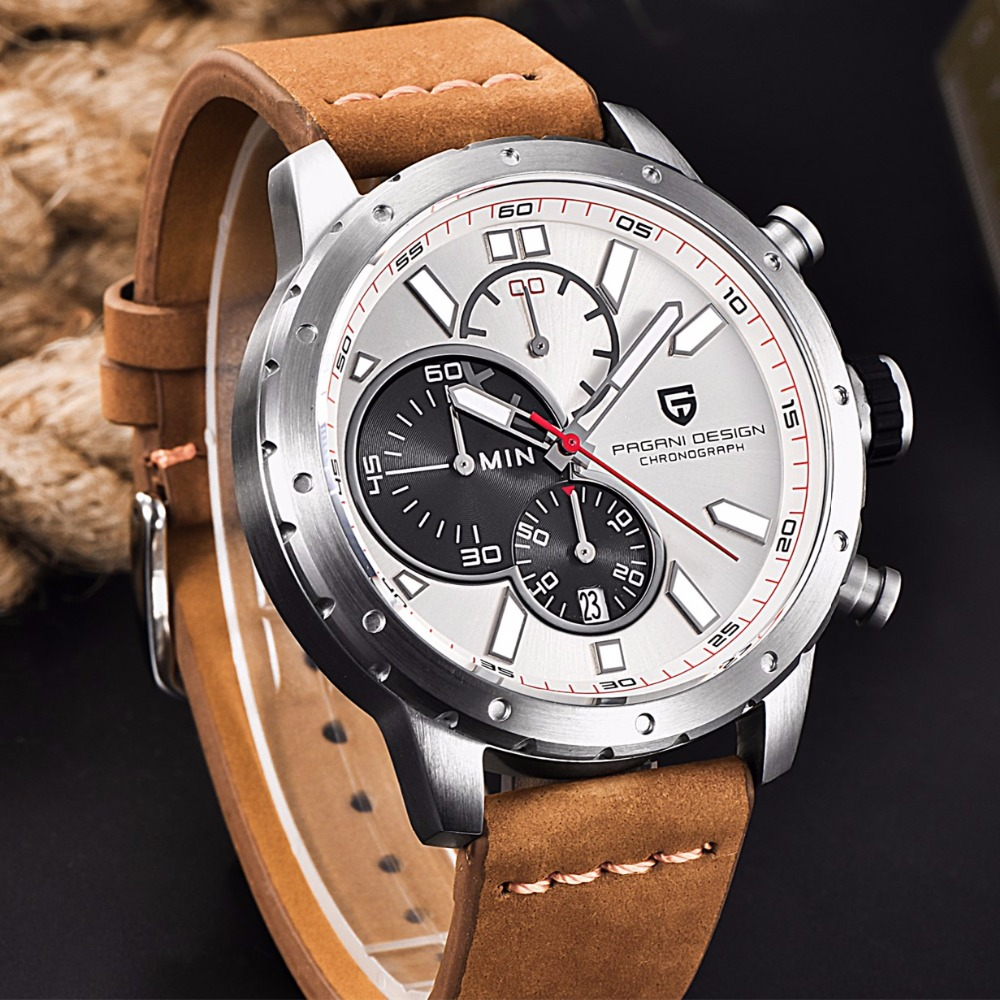 PAGANI DESIGN Mens Watches Top Brand Luxury Waterproof Genuine Leather Sport Military Quartz Watches Men Clock Relogio Masculino reloj hombre pagani design sport leather strap watches men top brand luxury multifunction quartz watches clock relogio masculino