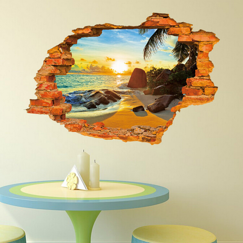 Free shipping  ebay hot selling 3D Window Decal WALL STICKER Home Decor Exotic Beach View Art Wallpaper Mural