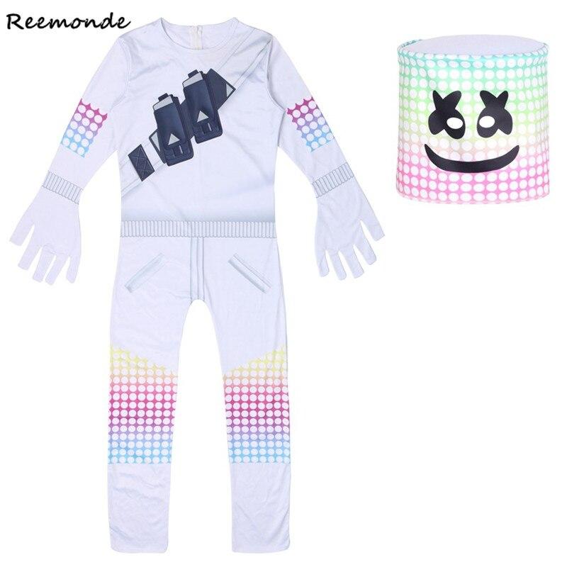 Marshmello DJ Mask Zentai Bodysuits Cosplay Costume Fortnight Jumpsuits Marshmello Dj Halloween Party Mask For Boys Kids Girls