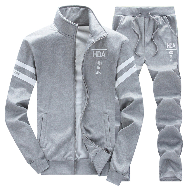 Sweatshirt Tracksuit Men Set Winter Fleece 2PCS Patchwork Hoodie 2