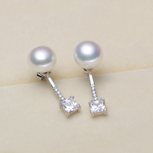 925 silver real natural big [beautiful] pearl freshwater pearl  Earrings 925 silver Steamed Buns round new wome