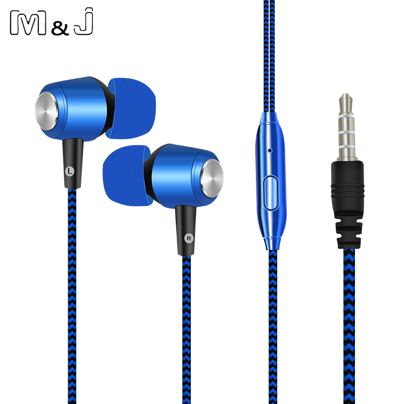 M&J New Plating Stereo Bass Earphone wire braid Earbus In Ear Earbus 3.5mm with Microphone For Iphone Samsung Xiaomi Apple 5 6s xiaomi miui 3 5mm stereo in ear earphone w microphone blue