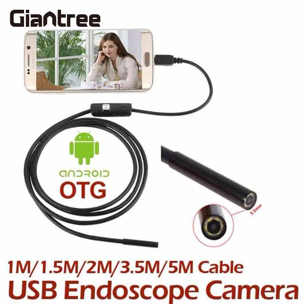 Giantree 5M 7MM Wifi Endoscope Camera IP67 HD Android Endoscope Inspection USB Borescope Camera LED Tube Video Camera OTG