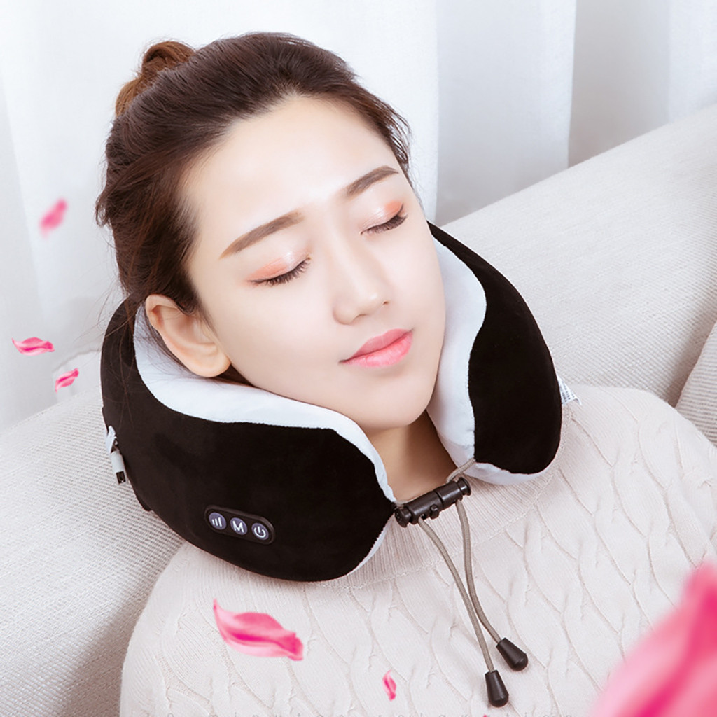 Neck Massager, Cordless U Shape Electric Rechargeable Travel Pillow Nap Memory Smart Remote Control