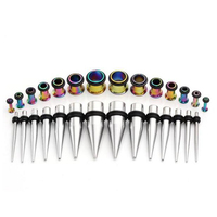 Ear Taper Stretching and Tunnel Kit Stainless Steel Rainbow Single Flare Plug Gauges Body Jewelry 40 Pieces/Set 14G-000G