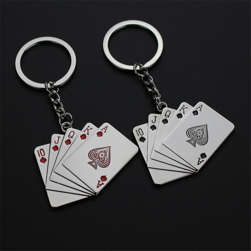 new fashion poker playing cards keychains key chains key