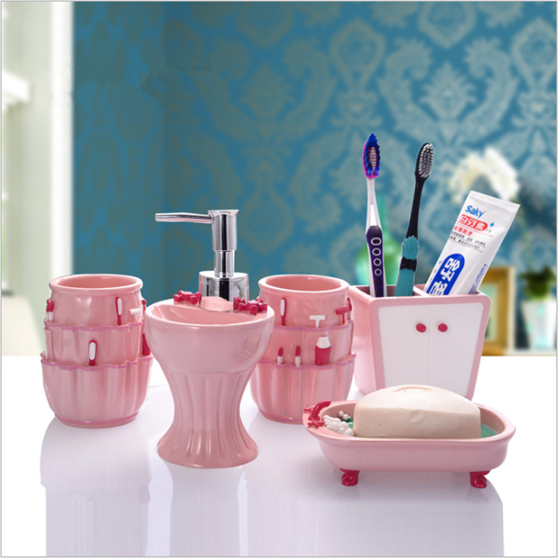 New European 5-piece sets Bathroom Accessories Set Cartoon Pink Resin Hand  Sanitizer Bottle With - Compare Prices On Pink Bathroom Sets- Online Shopping/Buy Low