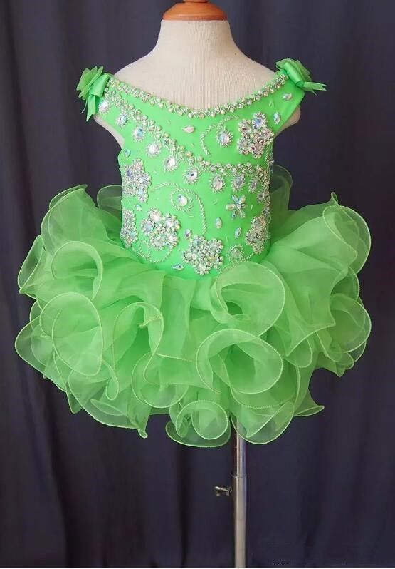 2017 New Green crystal backless sleeveless bow organza flower girls beads cupcake pageant dresses kids toddler glitz prom Infant