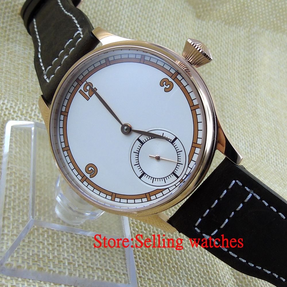 Corgeut 44mm White Dial Rose Golden case Hand Winding 6498 Mens Watch corgeut 44mm wristwatches rose gold case white dial coffee leather strap hand winding 6498 water resistant men watches cm2005b
