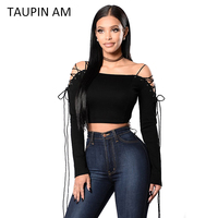 TAUPIN AM Women Blouses Long Sleeve 2017 Spring Autumn Black Off Shoulder Crop Top Pink Lace