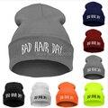 1 шт., Женщины / мужчины письма плохие волосы день светящийся трикотаж шляпа мягкий прорезиненная тесьма шапочка шляпа лыжный зима новинка шляпы