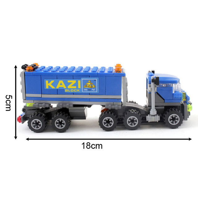 Kazi New Arrival 163pcs Transport Dumper Truck Model Building Blocks Can Build 4 Shapes Educational Toys Kids Gifts Wholesale