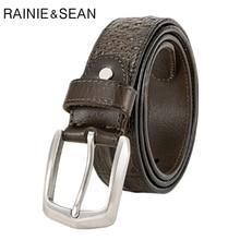 RAINIE SEAN Mens Pin Belt Crocodile Leather Male Italian Handmade Real Army Green Casual Business Belts Trousers