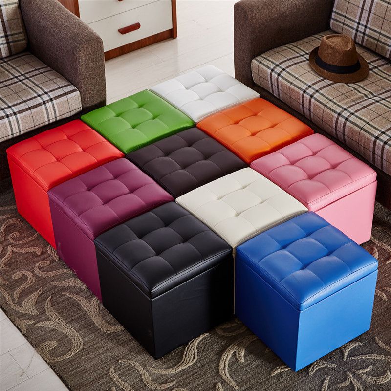 Adult Children Fashion Creative Shoes Bench Lazy Storage Box Leather Pier Small Sofa Bench Coffee Table Low Stool Leather Stool