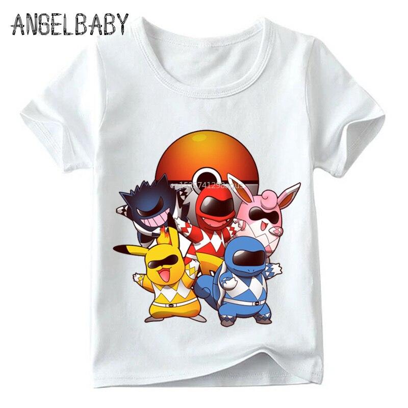 Children Go Poke Rangers Design Funny T Shirt Kids Summer Pokemon Go Tops Baby Boys/Girls Cartoon T-shirt,ooo5097