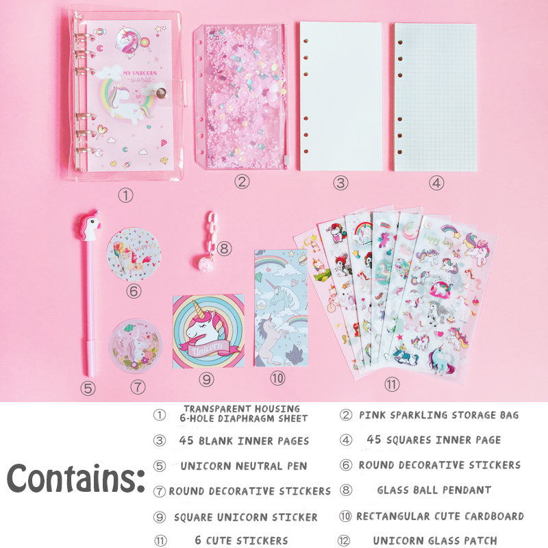 Image 4 - 2019 Unicorn Cute Notebook Notepad Pink Kawaii Planner Gift Set Softcover Creative School Supplies Bullet Journal Notebook Diary-in Notebooks from Office & School Supplies