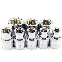 8 PZ 3/8 Pollici (10mm) Torx Stella Bit Femminile E Set Presa Chiave A Bussola Set E8, E10, E11, E12, E14, E16, E18, E20