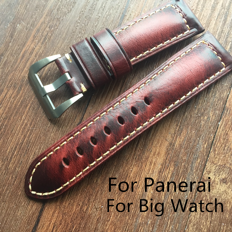 купить LUKENI Top Quality Oil Red Brown 20mm 22mm 24mm 26mm Vintage Genuine Leather Watch Band Strap For Panerai/PAM Big Pilot Watch по цене 1903.93 рублей