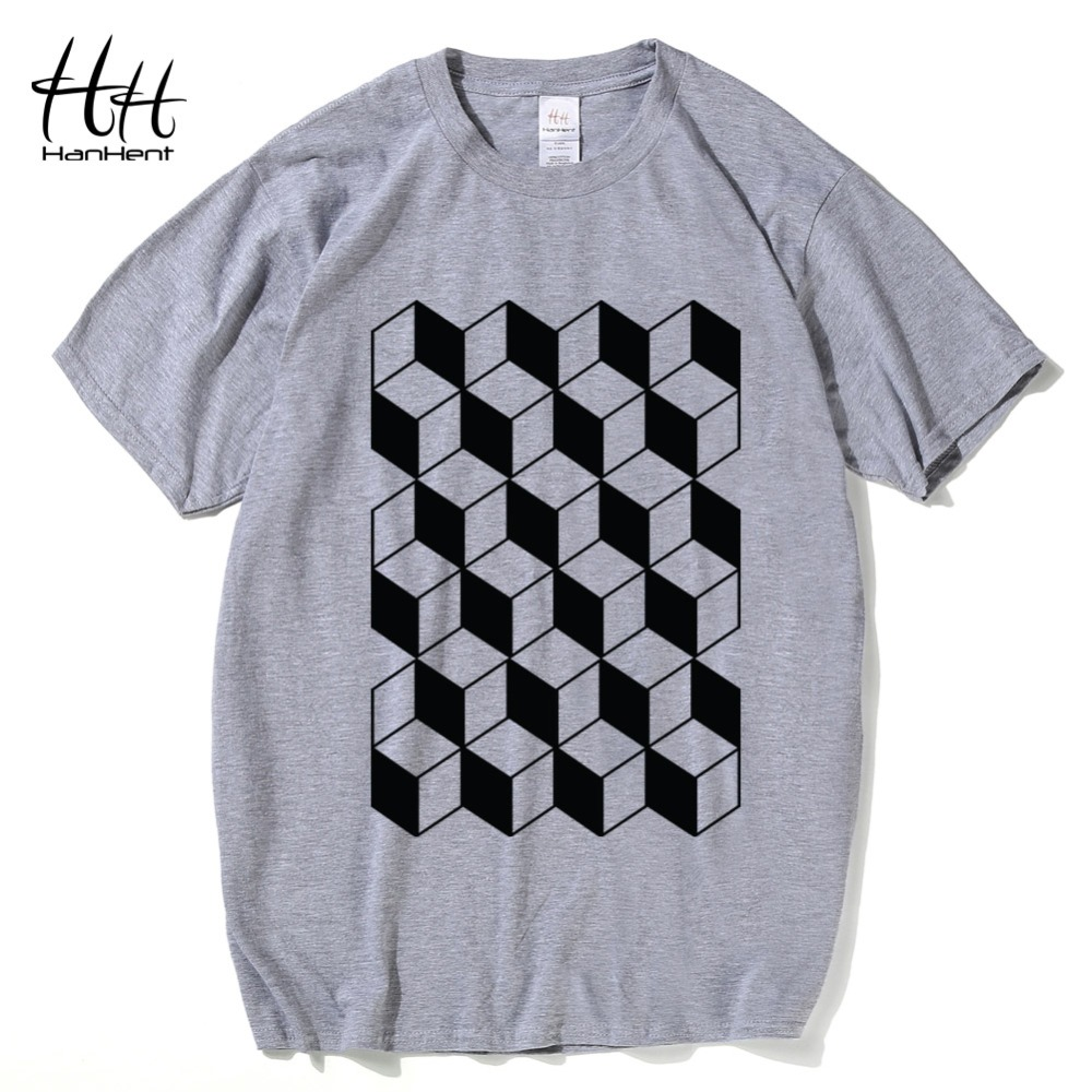 HanHent Creative Geometry T-shirts Men Cotton Summer Casual Style Tshirts Man 2017 Fashion Geeks T shirts Personalized TA0794