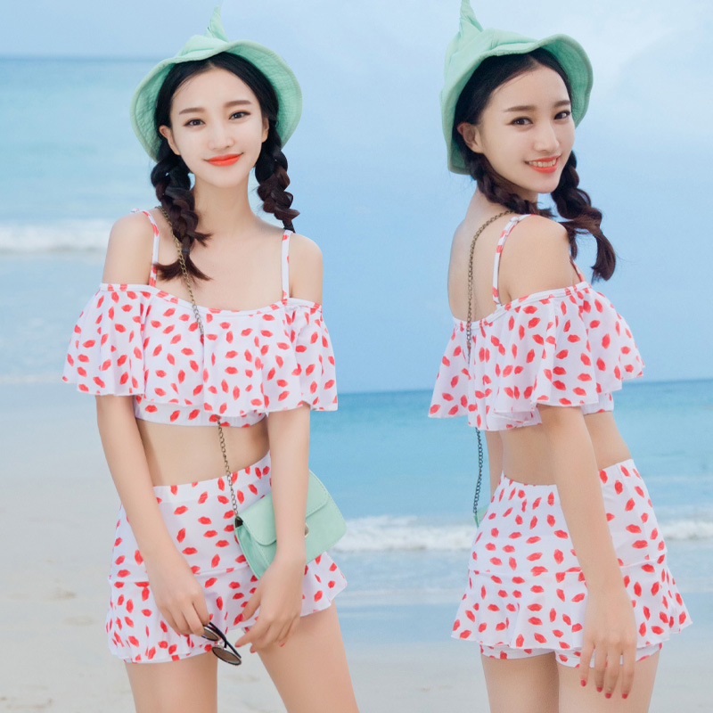 2017 bikini sexy Women Floral Push up bikini women Halter Bikini Swimwear Bathing Suit Swimsuit swimwear Dress female 2 Pcs