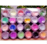 3D nail art Products 24 Colors Acrylic Powder Kit For UV Gel Nail Beauty Desgin Decoration Carve High Quality crystal