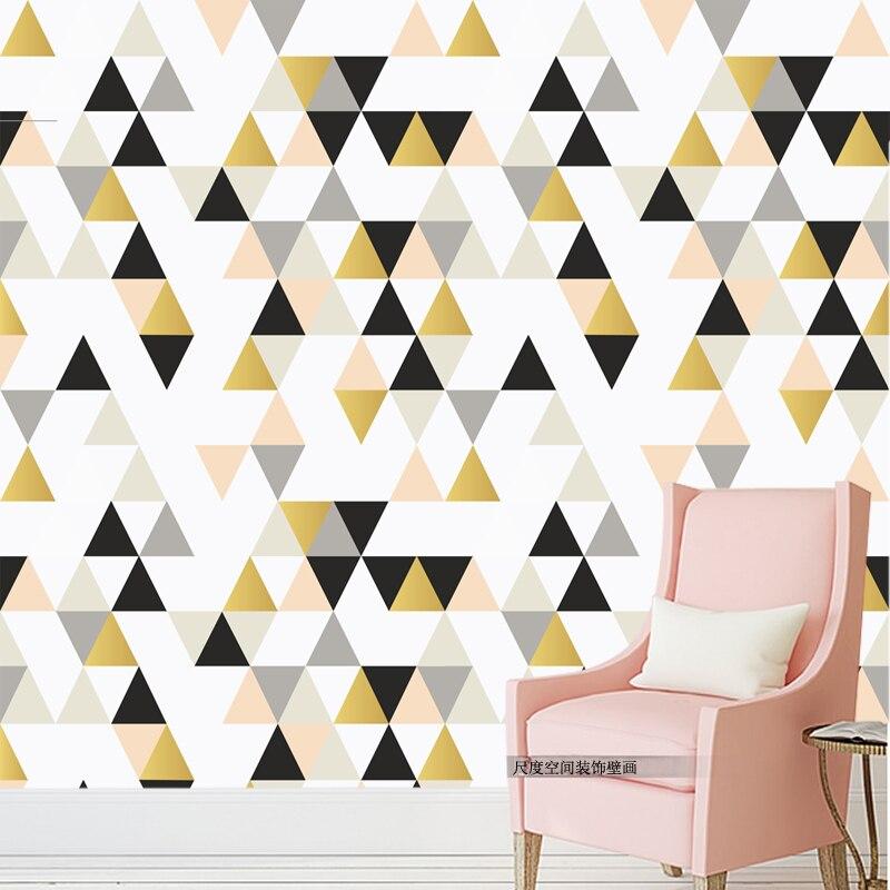 цены на Modern fashion geometric triangle  mural wallpaper for bedroom living room  wall decor wholesale free shipping discount в интернет-магазинах