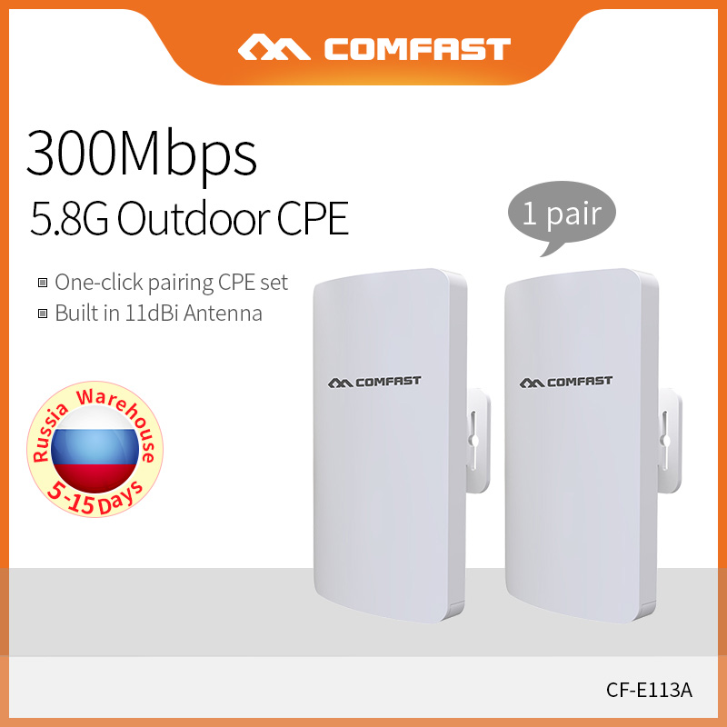 Comfast 1 paire longue portée 3KM Wifi sans fil extérieur CPE pont 300Mbps 5GHz routeur sans fil AP Extender CPE pour IP caméra CF-E113A